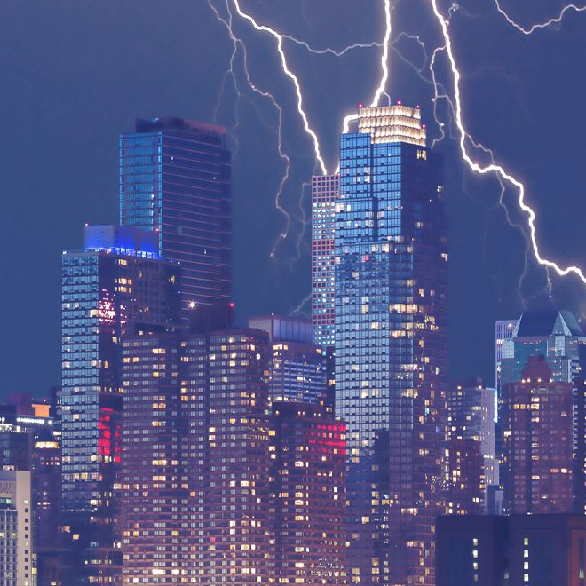 Lightning storm in city with power outages that Smartwatt Boiler can protect against.